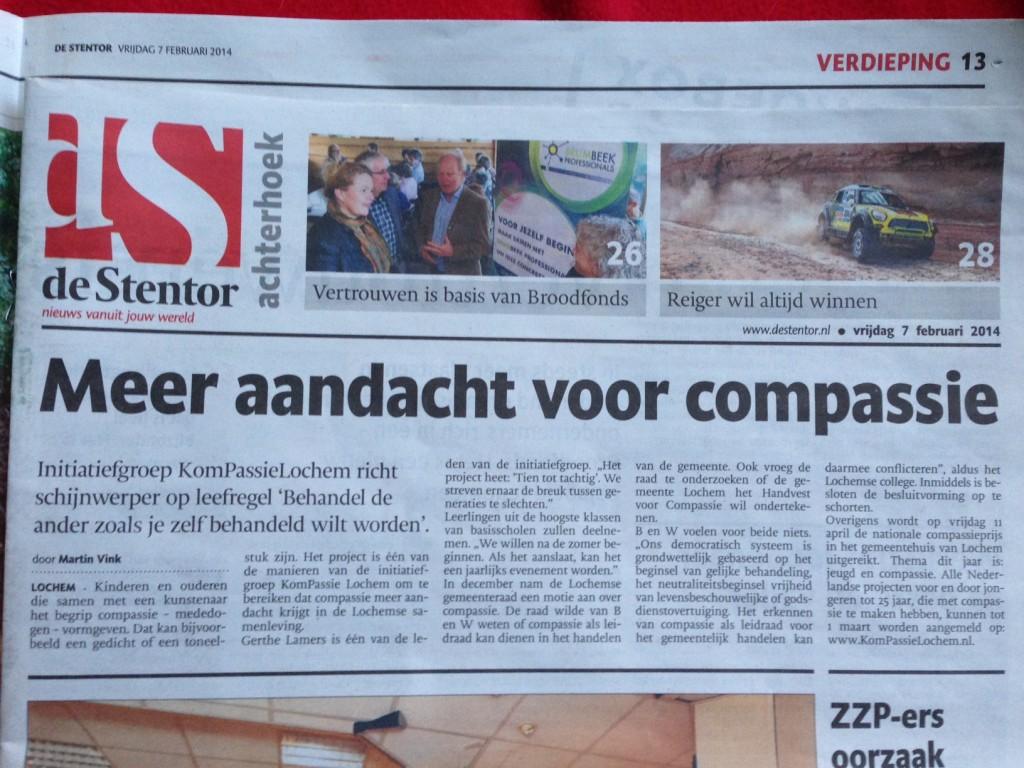Meer aandacht voor compassie - Krantenartikel 7 feb 2014